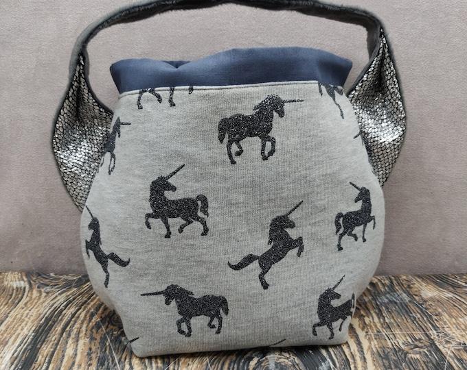 Unicorn themed handled project bag, variation on the earsbag, drawstring bag for knitting, crochet or anything you like