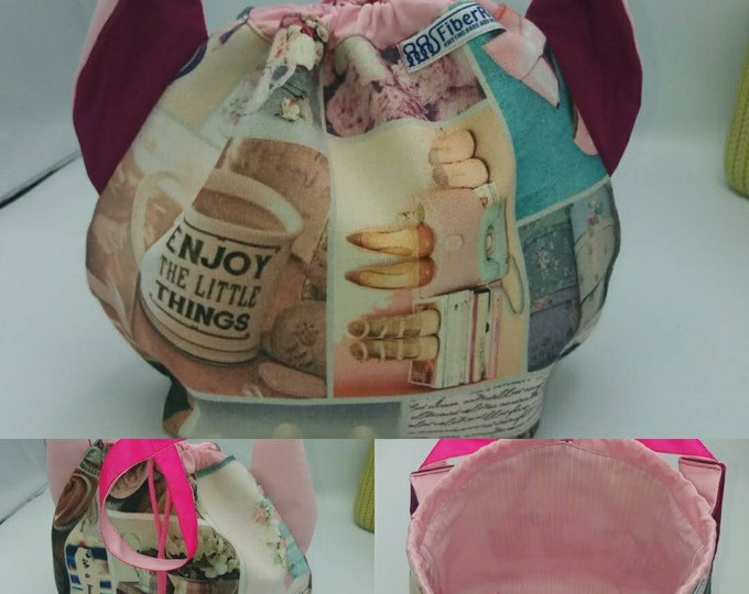 Flower power fund 12, SPECIAL Pink Ribbon EDITION  Ears bag, cat version, drawstring bag for knitting, crochet or anything you like