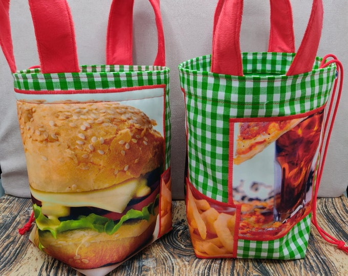 Project bag Burger Menu Knitting Bucket for knitters or crocheters, fully lined with a drawstring and handles