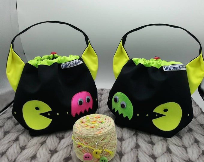 Pac Man Ears bag, back to the 80's with black and neon, drawstring bag for knitting, crochet or anything you like