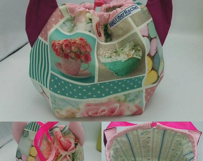 Flower power fund 8, SPECIAL Pink Ribbon EDITION  Ears bag, cat version, drawstring bag for knitting, crochet or anything you like
