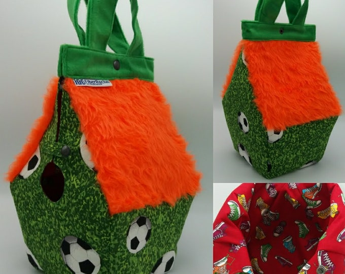 Soccer Football Birdhouse Bag, Birdhouse sized Birdhouse shaped project bag for knitting or crochet