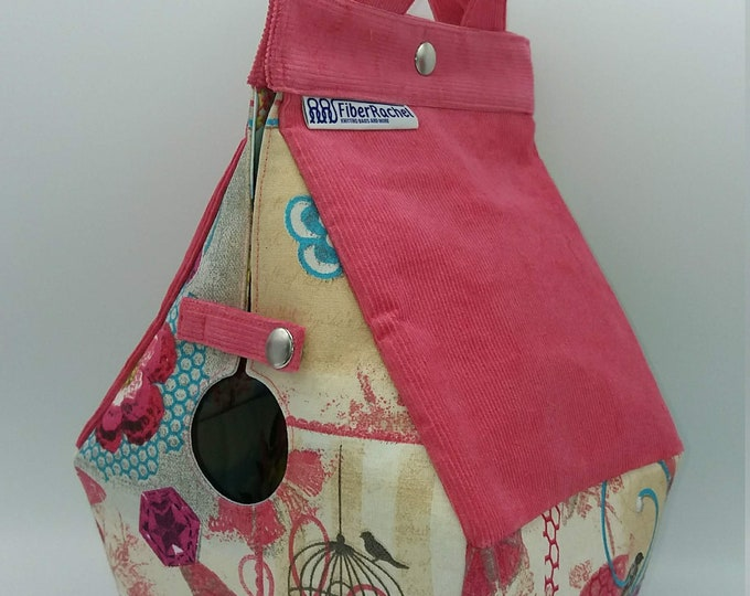 Birdhouse Bag 2.0, new edition Birdhouse shaped project bag for knitting or crochet, extra sturdy interfacing and with inside pockets