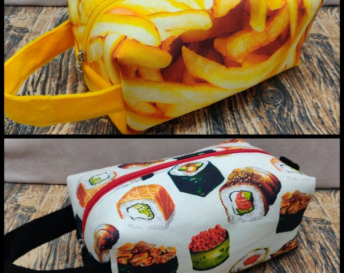 Fast Food Fries/Chips and Sushi Knitbox, a Project Bag for knitting, crochet, or whatever you like
