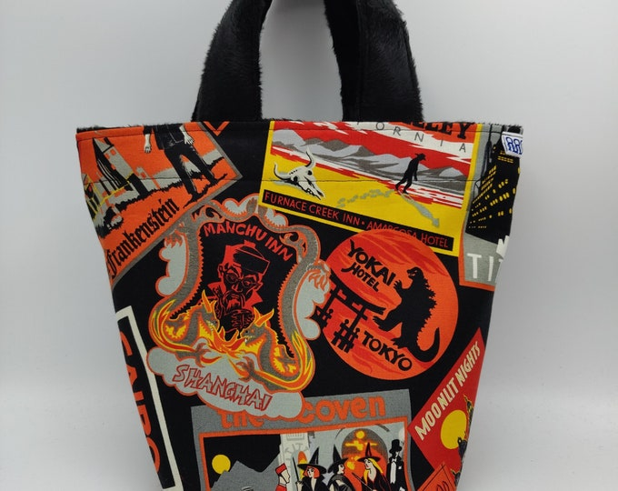 Halloween/Gothic Project bag Knitting Bucket for knitters or crocheters, fully lined with a drawstring and handles
