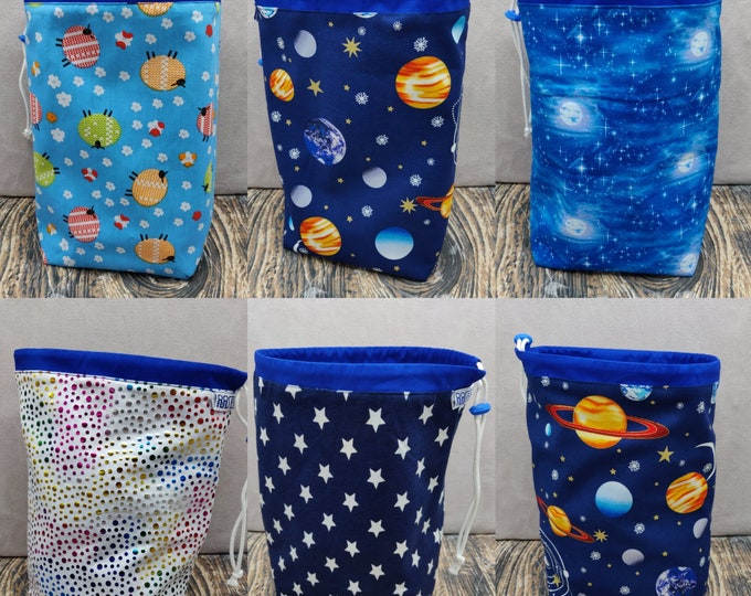 MEDIUM Twofer Star/planets/sheep, reversible Project bag , reversible pouch for knitters or crocheters, fully lined with a drawstring.