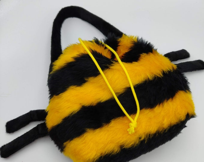 Honey Bee Earsbag, projectbag, drawstring bag for knitting, crochet or anything you like