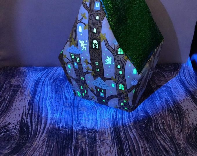 Fairy Treehouse Glow-in-the-dark knitting bag, Sockhouse size, Birdhouse shaped project bag for knitting or crochet