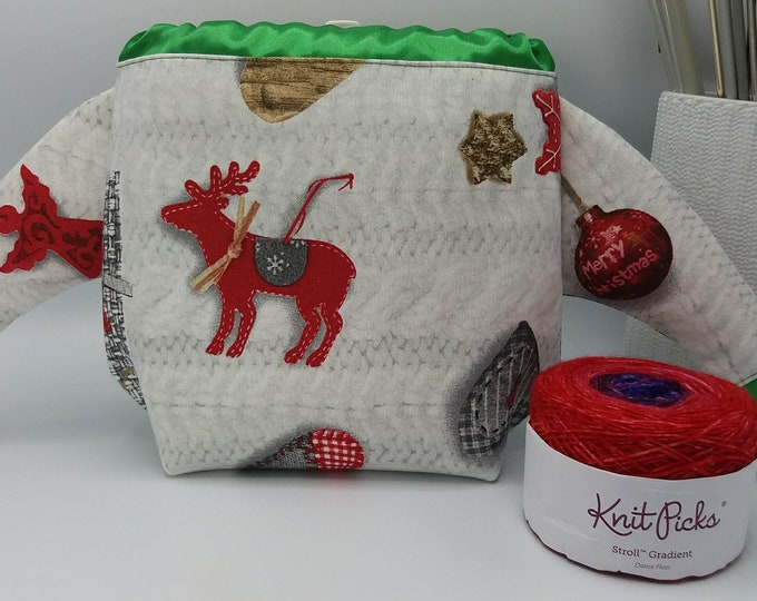 FiberFugly Christmas Sweater Bag, drawstring bag for knitting, crochet or anything you like, Christmas Jumper, project bag, knitting bag