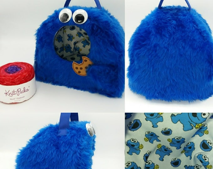 Cookie Monster FiberCave, yarn bowl, cubby hole or project bag for knitting, spinning, crochet or whatever you like.