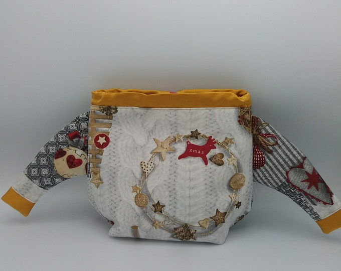 FiberFugly Christmas Sweater Bag, drawstring bag for knitting, crochet or anything you like, Christmas Jumper, project bag, knitting bag