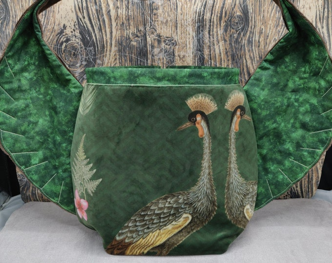 Crane Bird Wing knitting project Bag XL, variation on the earsbag, drawstring bag for knitting, crochet or anything you like