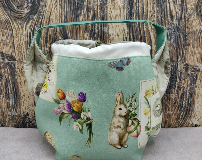 Easter Egg themed Ears bag, project bag, knitting bag, crochet bag, lined with drawstring closure