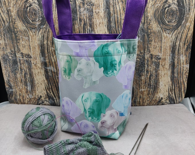 Weimaraner print Project bag Knitting Bucket for knitters or crocheters, fully lined with a drawstring and handles