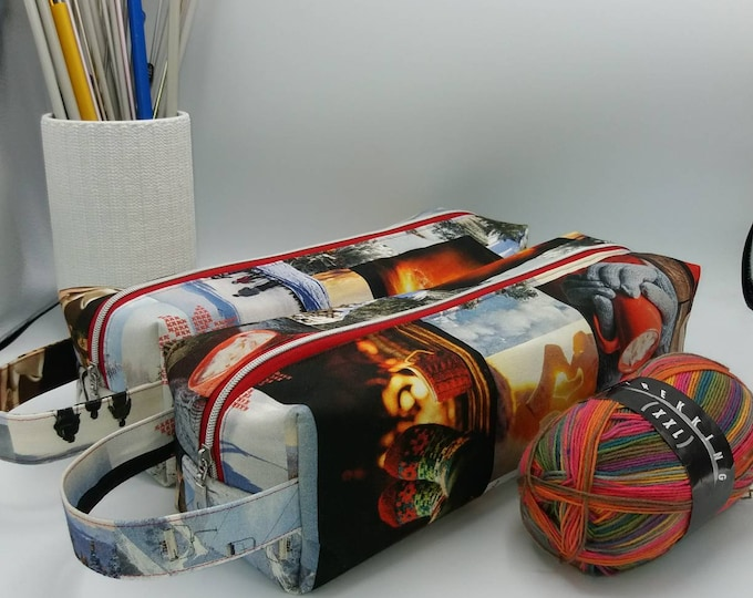 Stretch Knitbox, box bag for knitting, crochet or anything you like, will fit long straight needles too.