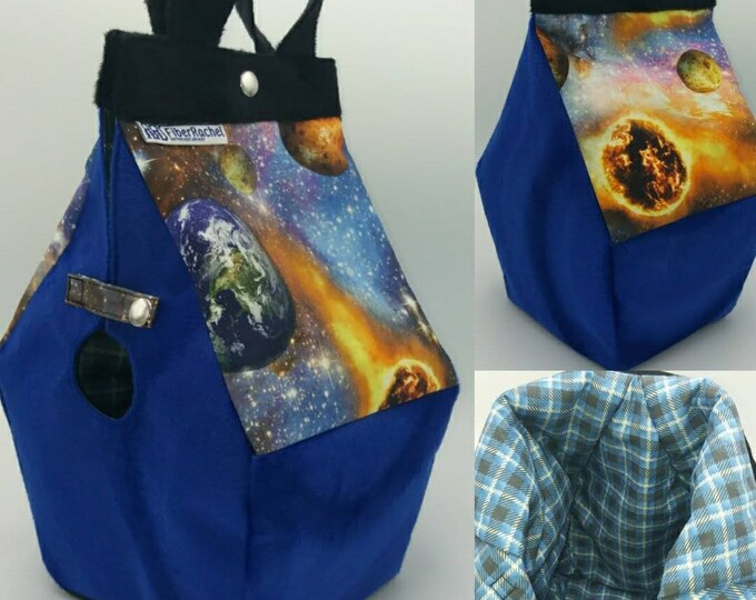 Science fiction space themed Birdhouse shaped project bag for knitting or crochet