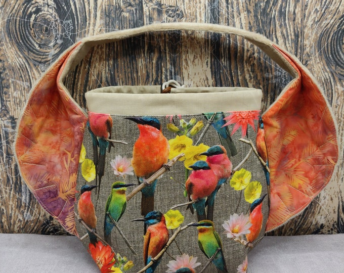 Beeeater Bird Wing knitting project bag, variation on the earsbag, drawstring bag for knitting, crochet or anything you like