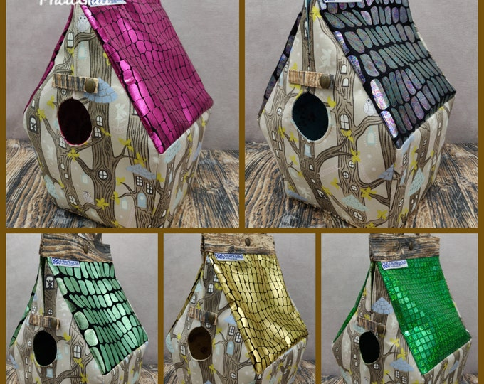 Fairy Treehouse Glow-in-the-dark Birdhouse Project bag for knitters or crocheters, fully lined, Birdhouse shaped knitting bag