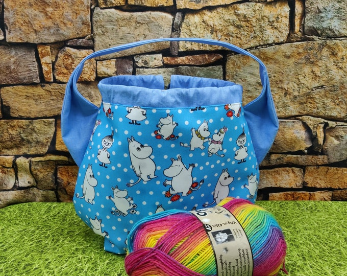 Moomin ears Project bag for knitters, closes with a drawstring and is fully lined