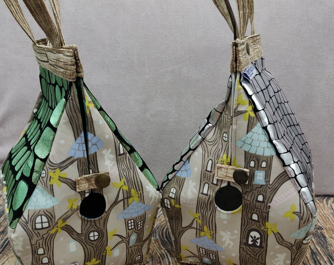 The very last !! Fairy Treehouse Glow-in-the-dark knitting bag, Sockhouse size, Birdhouse shaped project bag for knitting or crochet