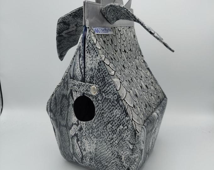 Dragon Birdhouse Bag, Birdhouse shaped project bag for knitting or crochet, or whatever you like