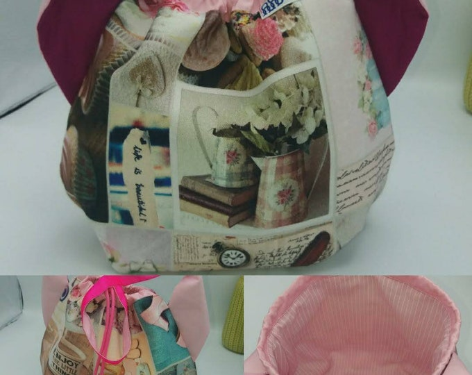 Flower power fund 11, SPECIAL Pink Ribbon EDITION  Ears bag, cat version, drawstring bag for knitting, crochet or anything you like