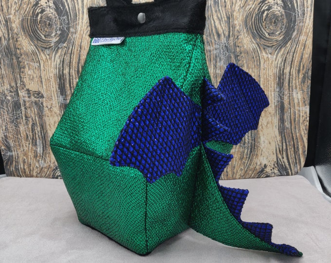 Dragon Birdhouse Bag, Birdhouse shaped project bag for knitting or crochet, or whatever you like