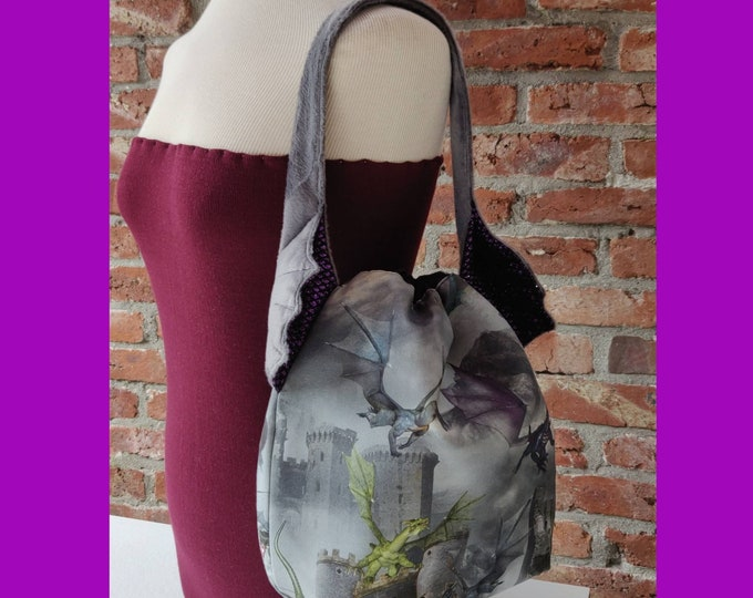 XL Dragon Ears bag, large drawstring bag for knitting, crochet or anything you like, sweater size with shoulderstrap, reinforced base