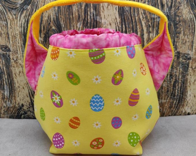 Easter Egg themed Ears bag, project bag, knitting bag, crochet bag, lined with drawstring closure