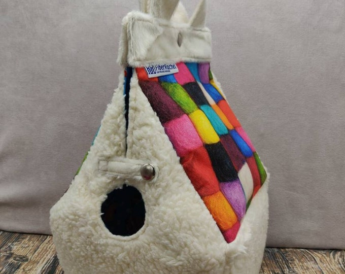 Cuddly Sheep Birdhouse Project bag for knitters or crocheters, fully lined, Birdhouse shaped knitting bag