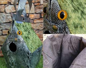 Basilisk, (or snake or dragon) FiberSpecial 'Harry Potter' Birdhouse shaped project bag for knitting or crochet