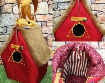 Griffindor, Hogwarts house, FiberSpecial 'Harry Potter' Birdhouse shaped project bag for knitting or crochet