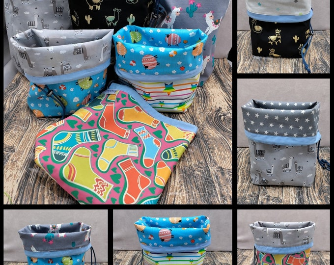 MEDIUM Twofer Llama/sheep/socks, reversible Project bag , reversible pouch for knitters or crocheters, fully lined with a drawstring.