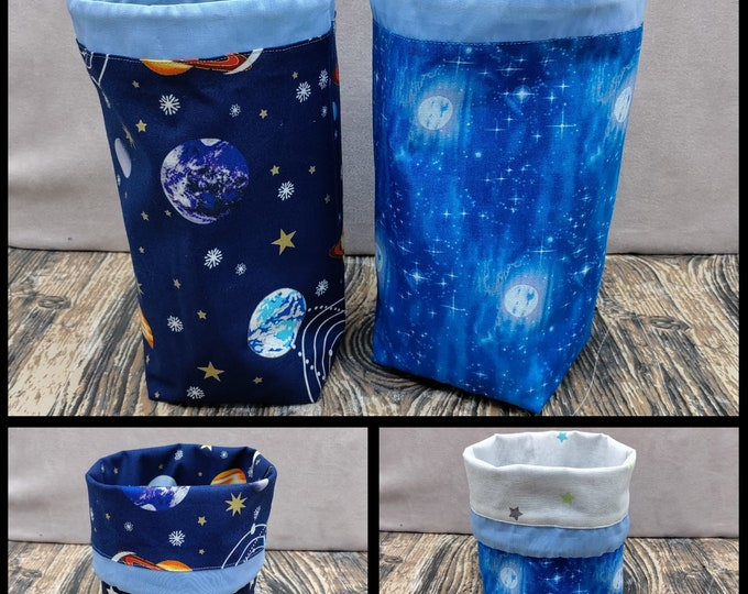 SMALL Twofer Stars/planets , reversible Project bag , reversible pouch for knitters or crocheters, fully lined with a drawstring.