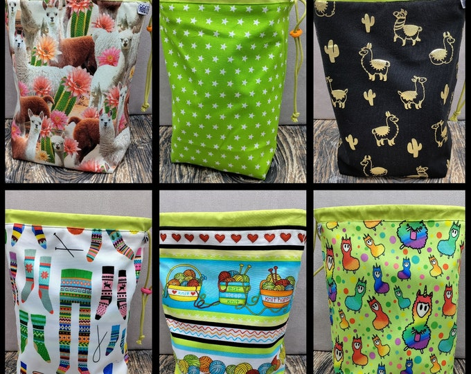MEDIUM Twofer Llama, reversible Project bag , reversible pouch for knitters or crocheters, fully lined with a drawstring.