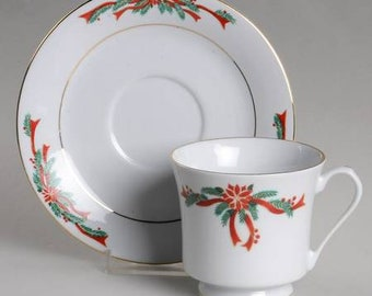 Poinsettias and Ribbons Footed Cup and Saucer Set