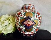 Vintage Japanese Hand Painted Gold Imari Floral Motif Ginger Jar With Lid Blue Green Red_Classic Red And Cobalt Blue Gold Imari Pattern Jar