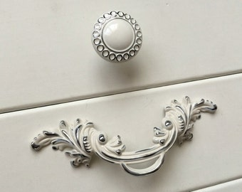 25 shabby chic dresser knobs pulls drawer pull handles silver cream white kitchen cabinet handles pulls door handle french pulls 2 12 64 - Kitchen Cabinet Handles 2