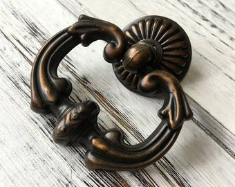 Charmant LARGE Vintage Style Drop Pull Dresser Knob Pull Knobs Drawer Knob Pulls  Handles Drop Rings Cabinet Pulls Knobs Antique Brass ARoseRambling