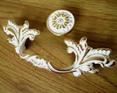 3 quot 76 mm Shabby Chic Dresser Drawer Pulls Handles White Gold French Country Kitchen Cabinet Handle Pull Antique Furniture Hardware