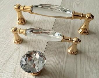 375 5 or crystal tiroir tire poigne pull boutons strass verre commode poignes armoires de cuisine porte poigne 96 128 mm aroserambling