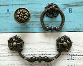 4 1 4 quot 4 1 2 quot Vintage Look Bail Drawer Pull Drop Handles Knob Ring Antique Bronze Swing Dresser Pulls Rustic Cabinet Handle Pull 4.25 quot 4.5 quot