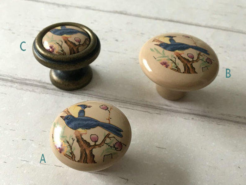 3 3.75 5 Drawer Knob Pull Handles Dresser Knobs Pulls Flower Bird Kitchen Cabinet Door Handle Porcelain Tan Blue Antique Bronze 76 96 128