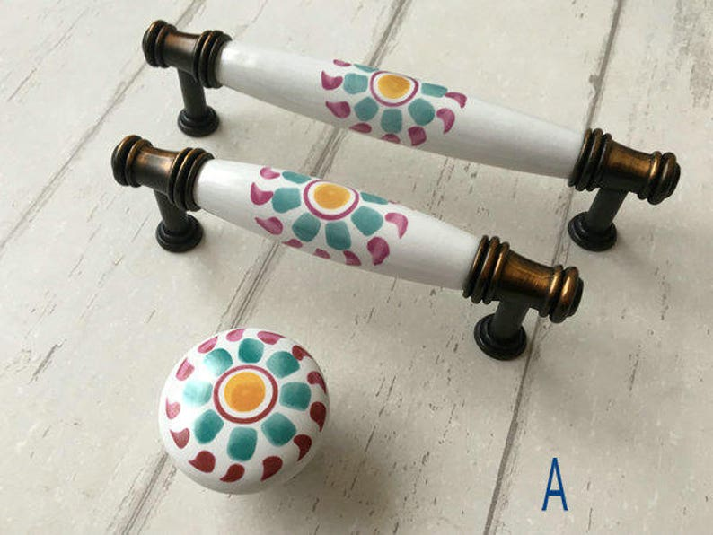 3.75 5 Flower Knobs Dresser Pulls Ceramic Drawer Pull Handles Kitchen Cabinet Door Knob Handle White Yellow Blue ARoseRambling 128 96 mm