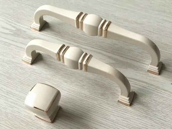 96 128 mm Küchenschrank Griffe Creme Weiß Gold Knauf Möbel | Etsy