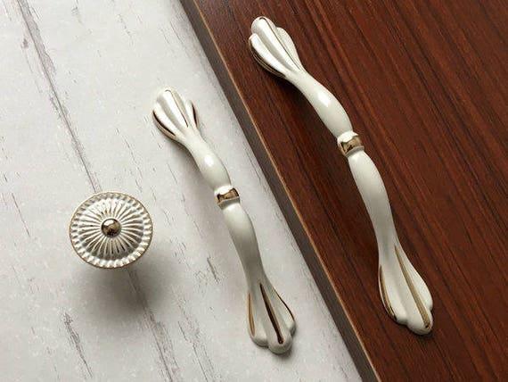 3.75 5 Cream White Gold Cabinet Door Handle Knob | Etsy