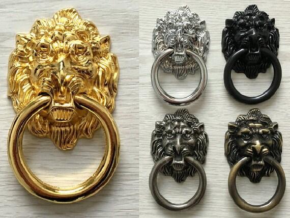 T te de lion porte heurtoir bague tiroir pull boutons commode - Heurtoir de porte tete de lion ...