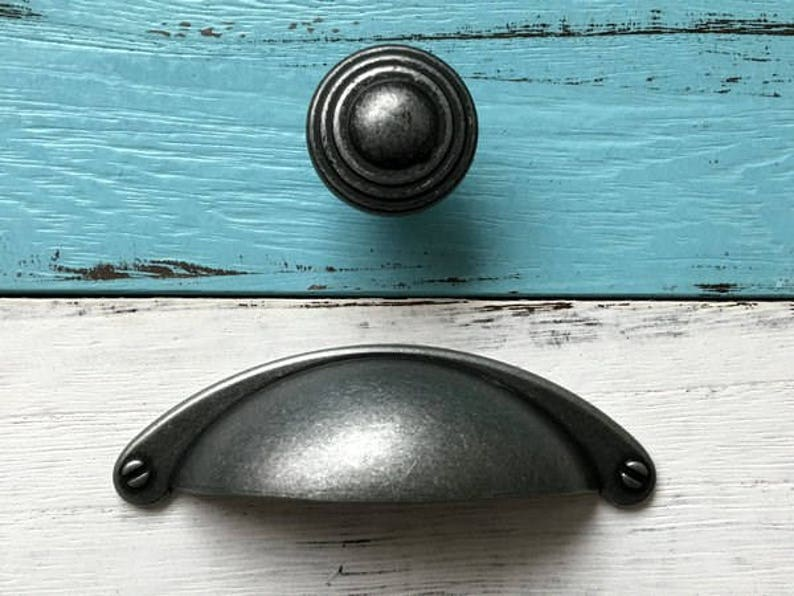 2 12 Cup Dresser Drawer Pulls Handles Cabinet Pull Handle Retro Bin Shell Furniture Pewter Antique