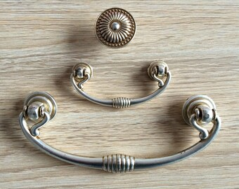 "2.5"" 5"" Dresser Pulls Drop Drawer Pull Handles Knob Antique Silver Kitchen Cabinet Handle Knob Vintage Style Door Bail Pull 2 1/2"" 64 128 mm"
