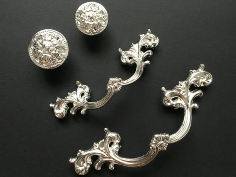 2.5 3.75 Drawer Pull Handles Knobs Dresser Pulls Silver Knob Shabby Chic Kitchen Cabinet Door Knob Pulls Decorative Hardware 64 96 mm